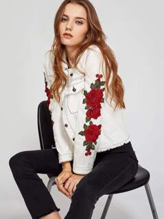 3D Flower Patch Topstitch Detail Frayed Jacket