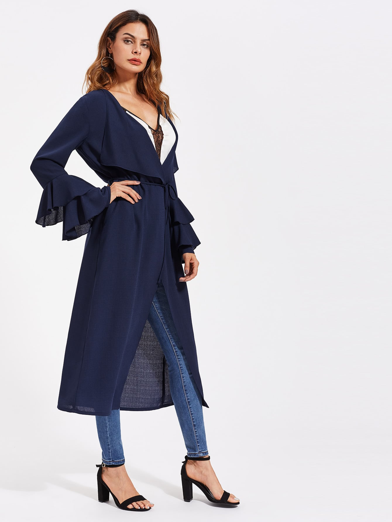 Layered Bell Sleeve Self Tie Duster Coat pearl detail layered frill sleeve top