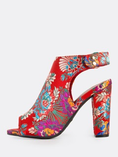 Colorful Oriental Ankle Strap Peep Toe Heels RED