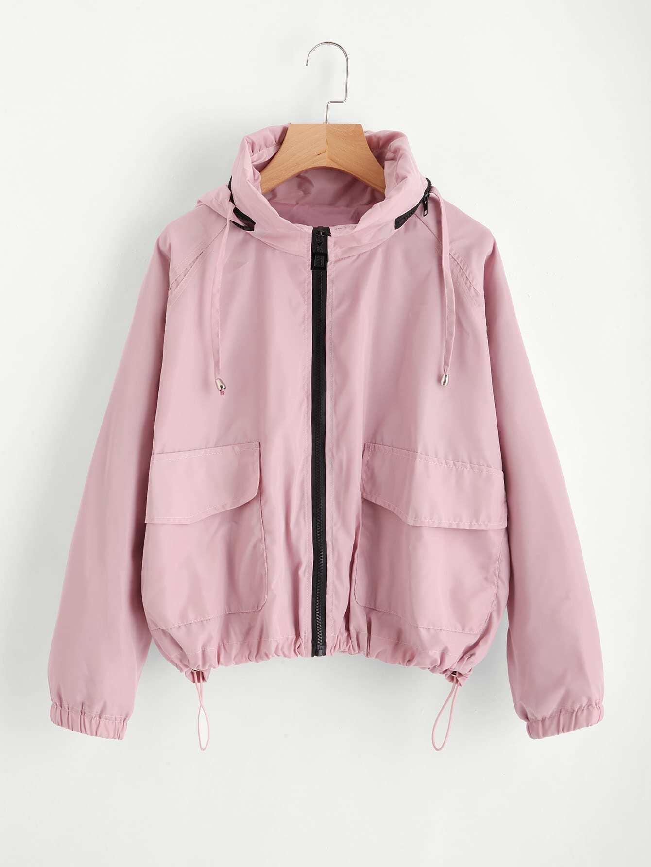Flap Pocket Front Drawstring Hem Hooded Jacket tree print drawstring hem hooded blouse