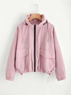 Flap Pocket Front Drawstring Hem Hooded Jacket