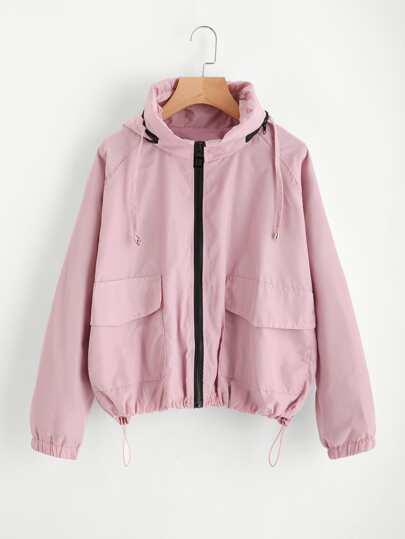 Flap Pocket Front Drawstring Hem Hooded Jacket