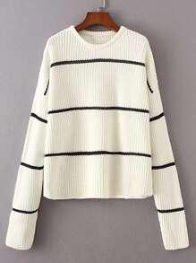 Crochet Insert Drop Shoulder Seam Sweater