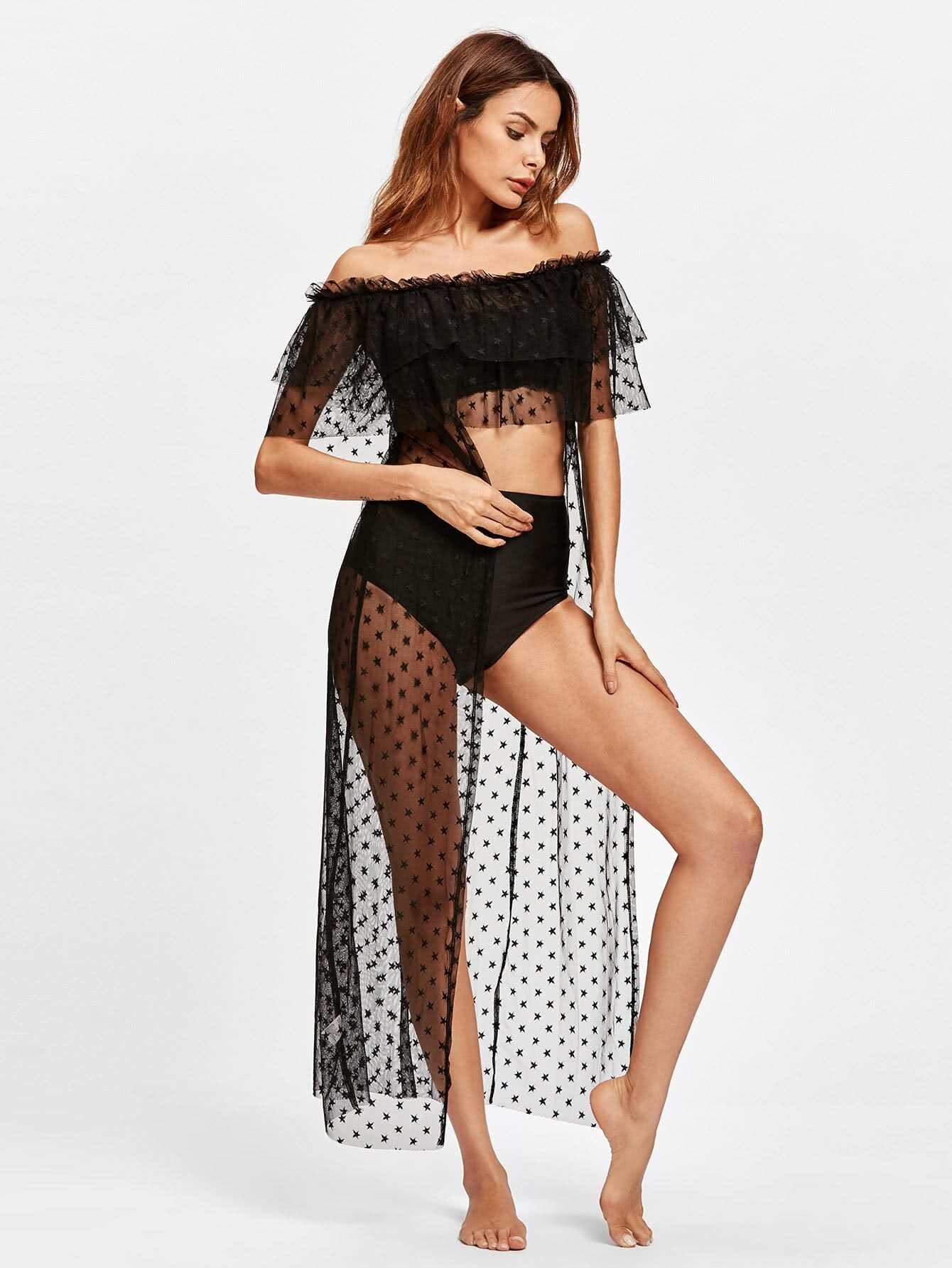 Flounce Tiered Star Mesh Cover Up