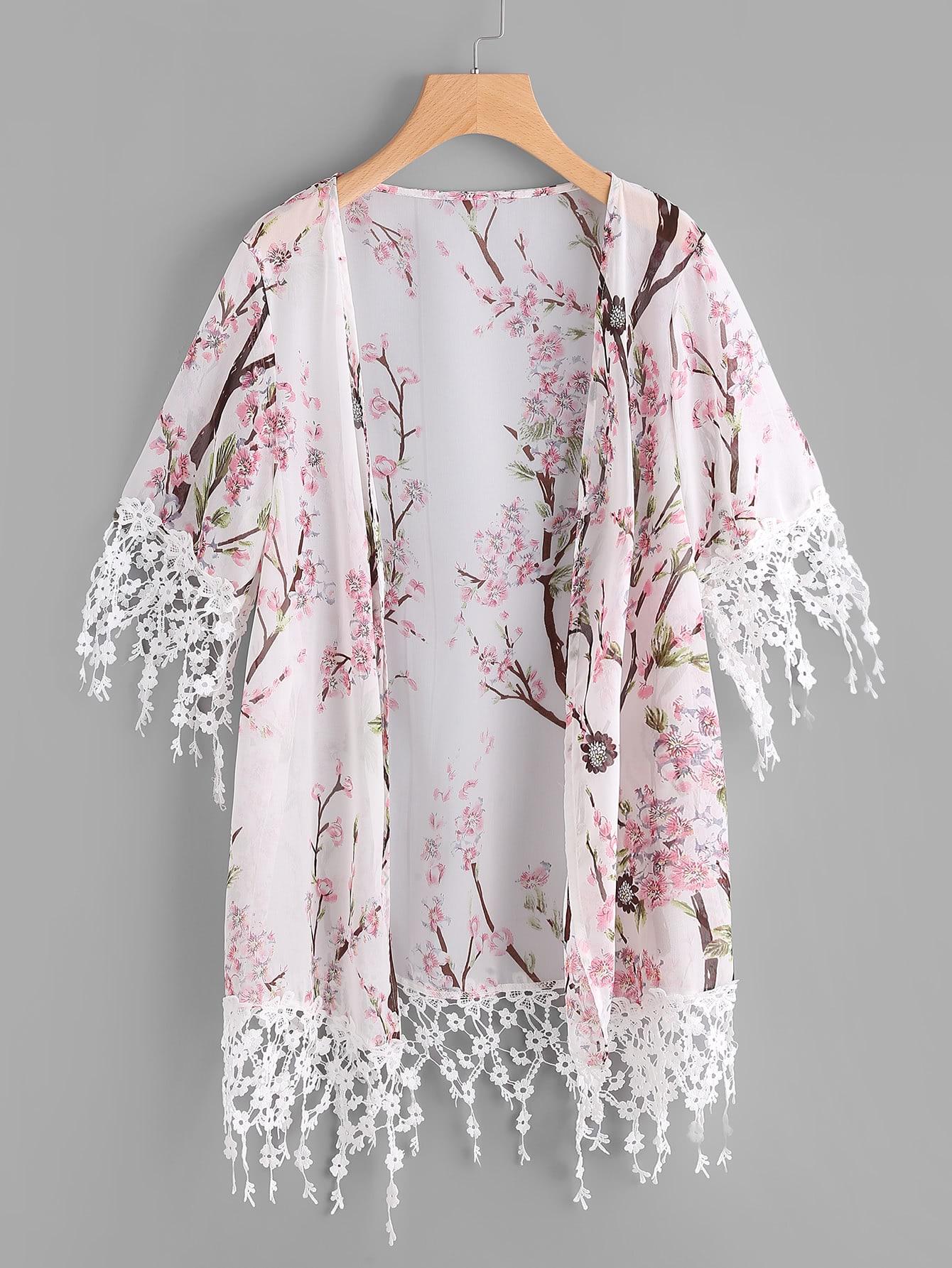 Image of Blossom Print Floral Lace Trim Kimono