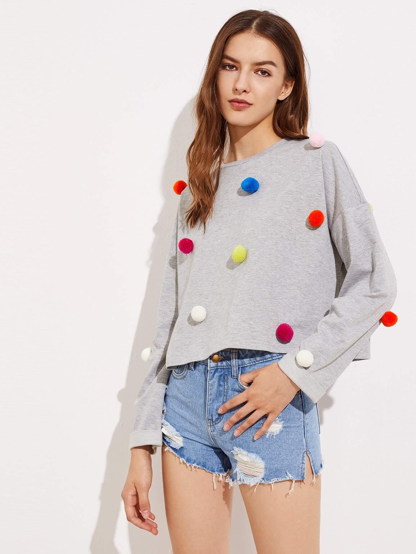Drop Shoulder Pom Pom Detail Heathered Sweatshirt fringe and braided tape detail drop shoulder sweatshirt