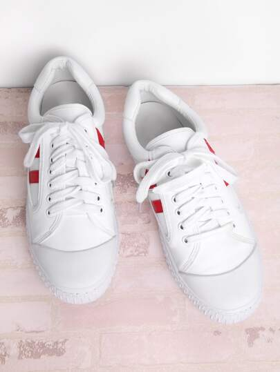 PU Lace Up Low Top Sneakers