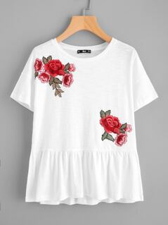 Rose Patch Slub Peplum Tee