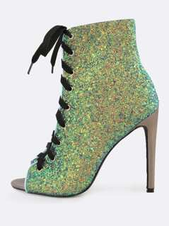 Peep Toe Lace Up Glitter Booties MERMAID