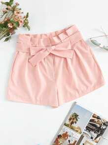 Shorts plissé avec cordon de taille