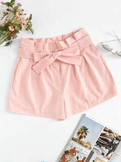 Tie Waist Box Pleated Shorts