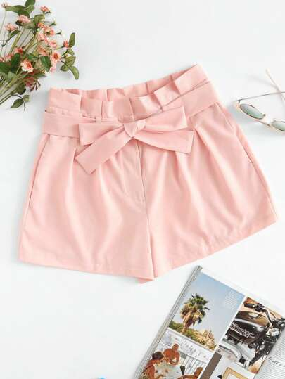 Tie Waist Box Pleated Shorts