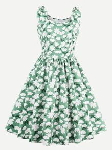 Allover Florals Rabbit Ears Detail Swing Dress