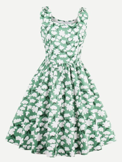 Allover Florals Rabbit Ears Detail Swing Dress