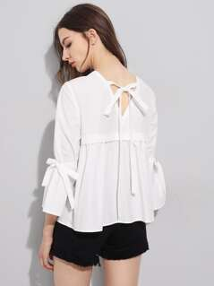 V Notch Tie Back Belted Sleeve Layered Top