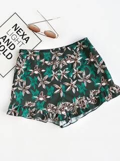 Zip Side Frilled Hem Floral Shorts