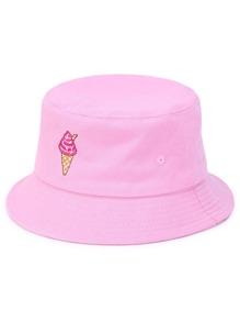 Chapeau de seau brodé de la crème glacée