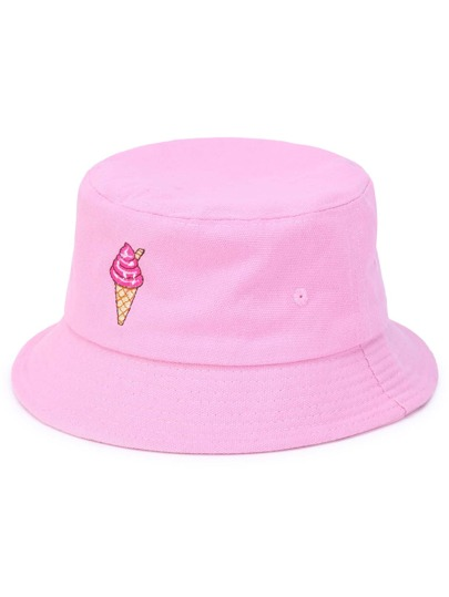 Ice Cream Embroidery Bucket Hat
