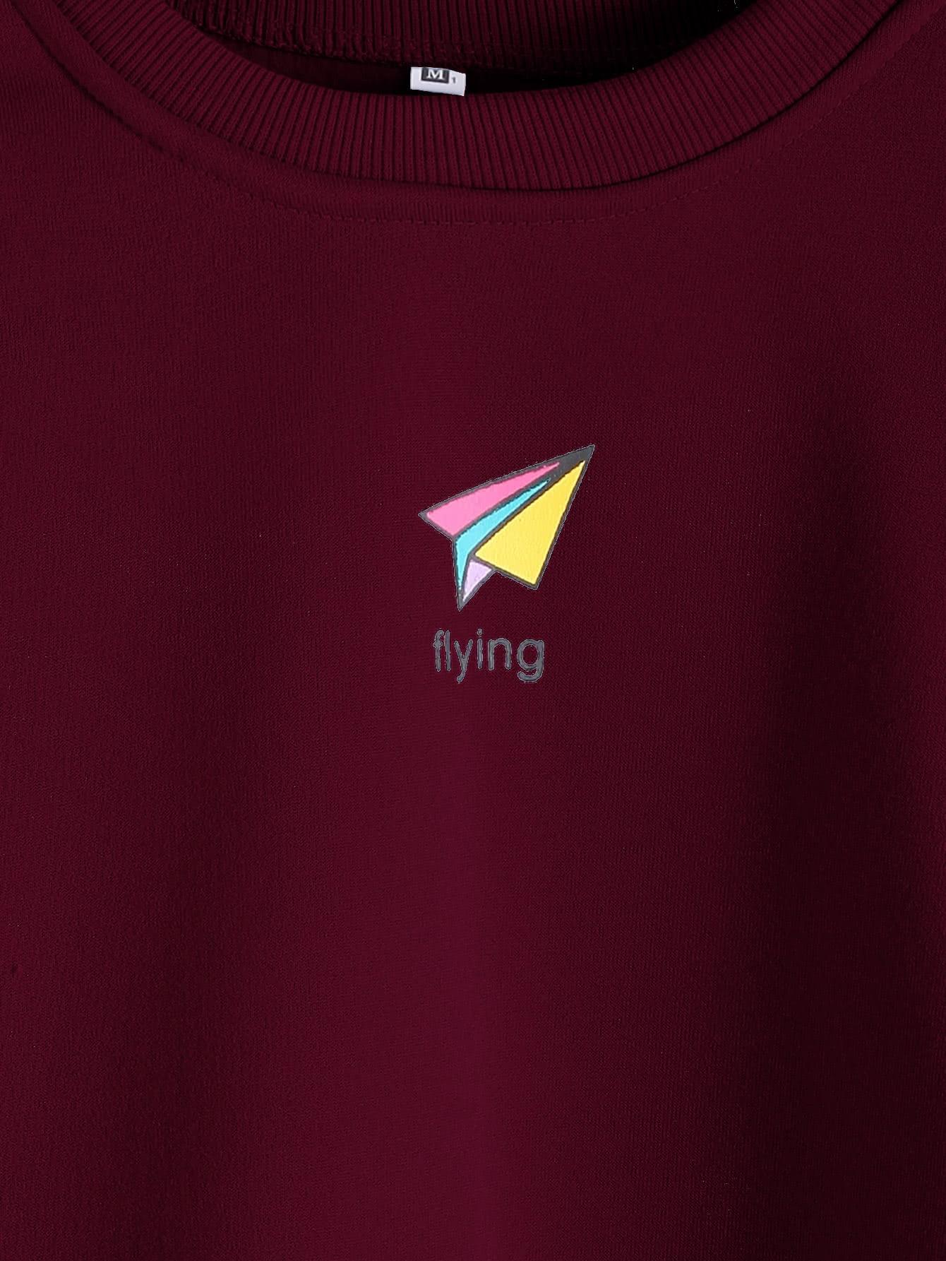 Paper Airplane Print Patchwork Trim Sweatshirt