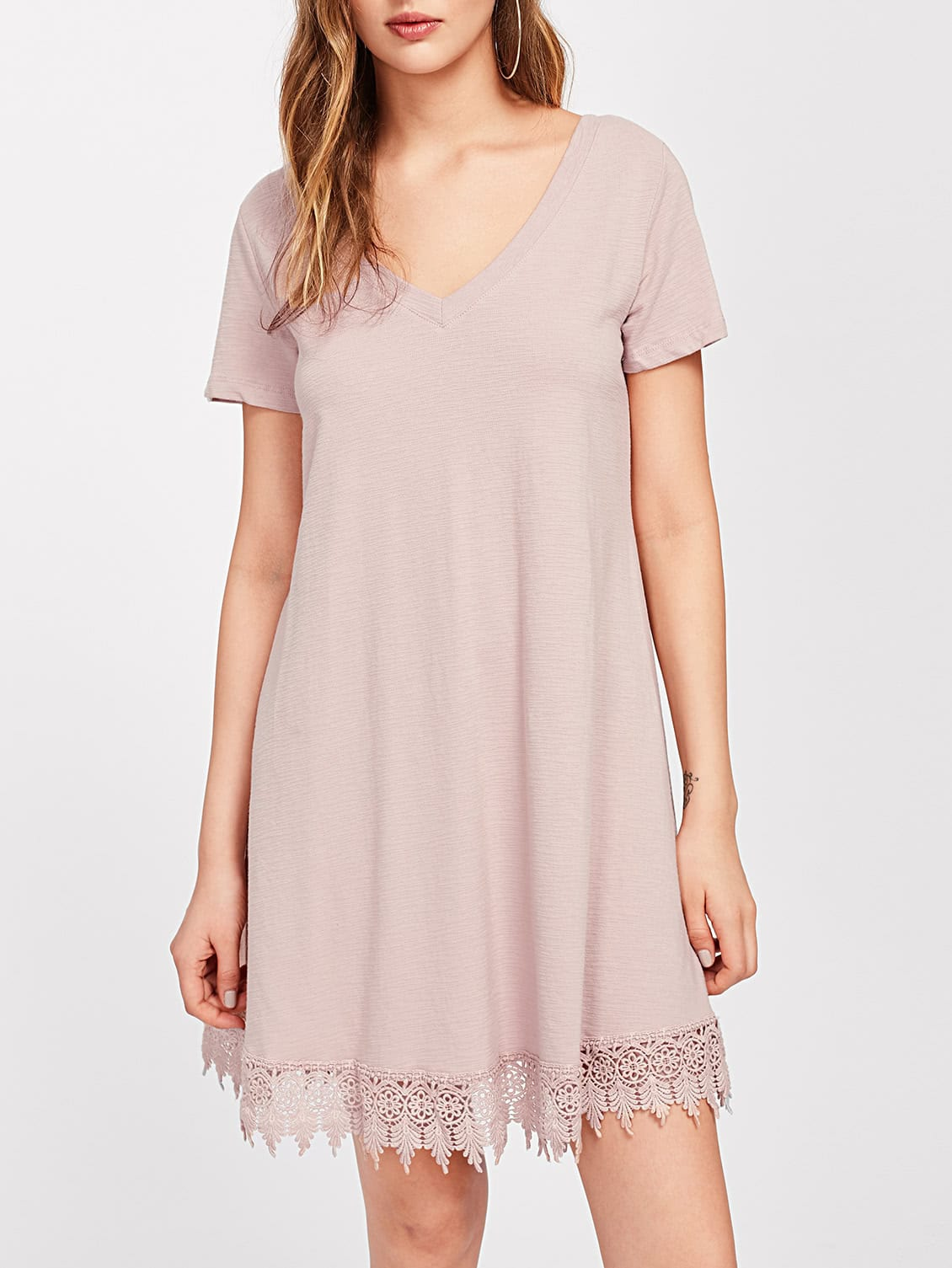 Фото Lace Hem Tie Up Scoop Back Textured Dress. Купить с доставкой