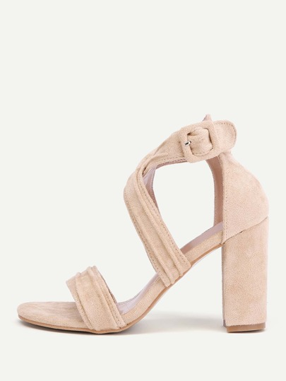 Criss Cross Block Heeled Sandals