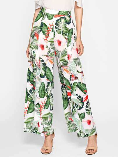 Pantalones con estampado tropical