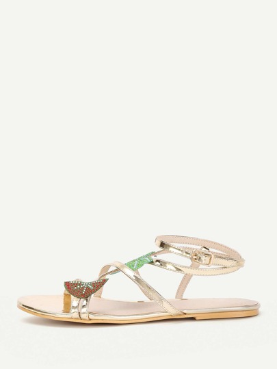 Leaf Embellished Strappy Flat Sandals