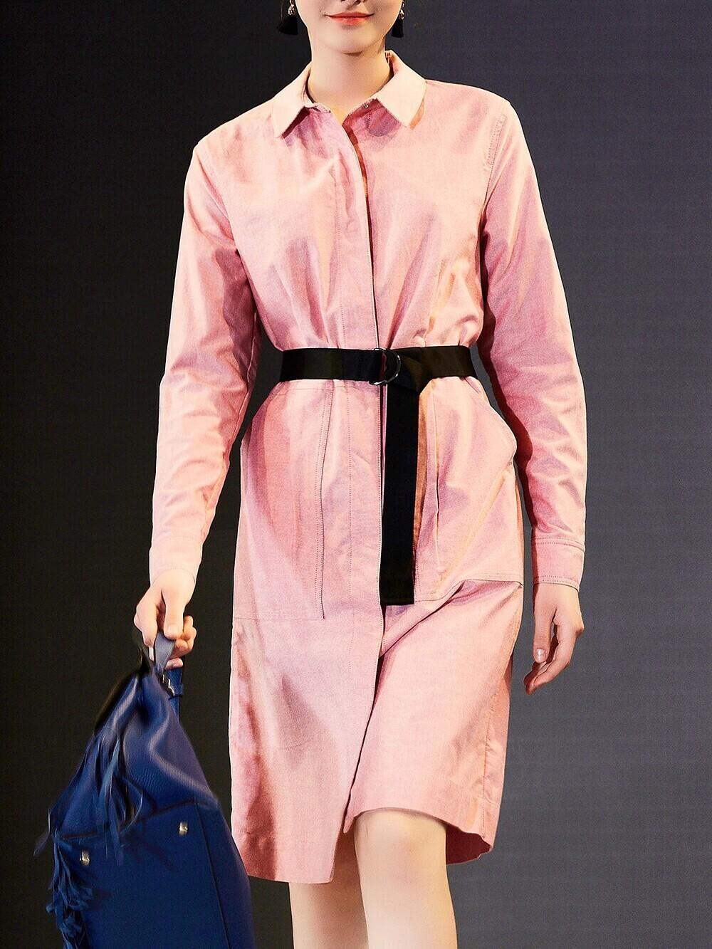 Фото Lapel Belted Shirt Dress. Купить с доставкой