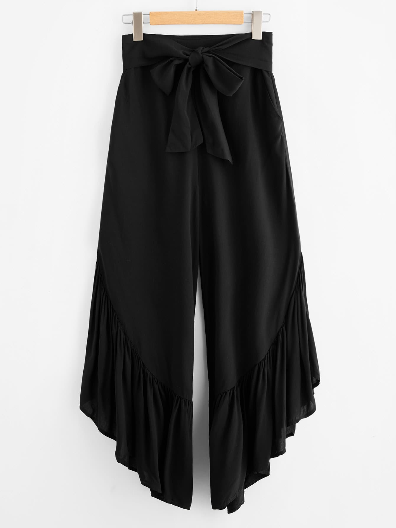 Фото Bow Tie Waist Ruffle Hem Culotte Pants. Купить с доставкой