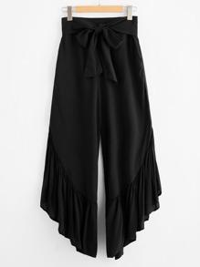 Bow Tie Waist Ruffle Hem Culotte Pants