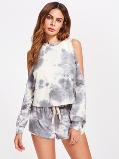 Open Shoulder Tie Dye Sweatshirt And Drawstring Shorts Co-Ord