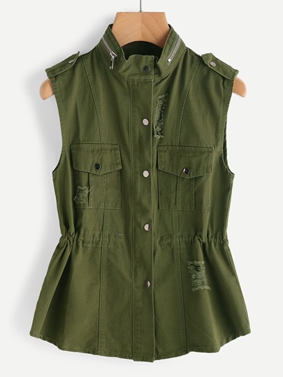 Zip Neck Distress Sleeveless Jacket