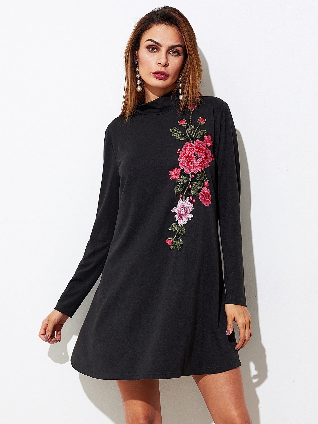 Embroidered Flower Patch Swing Tee Dress flower patch full length tee dress