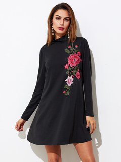 Embroidered Flower Patch Swing Tee Dress