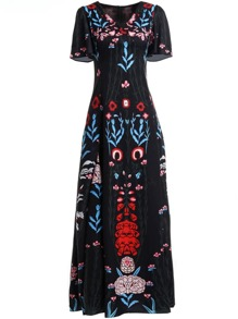 V Neck Flowers Print Maxi Dress