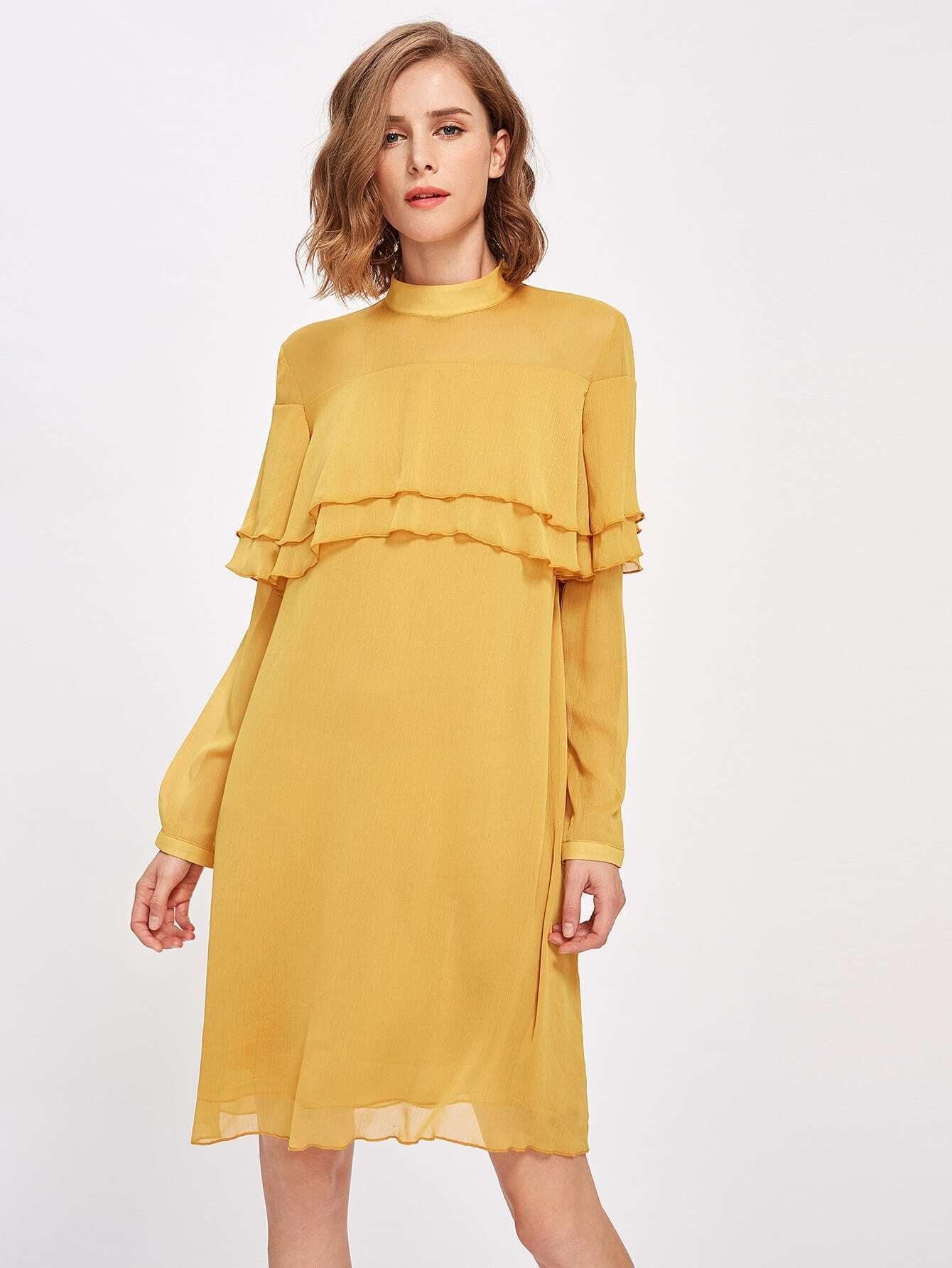 Фото Mock Neck Layered Flounce Trim Dress. Купить с доставкой