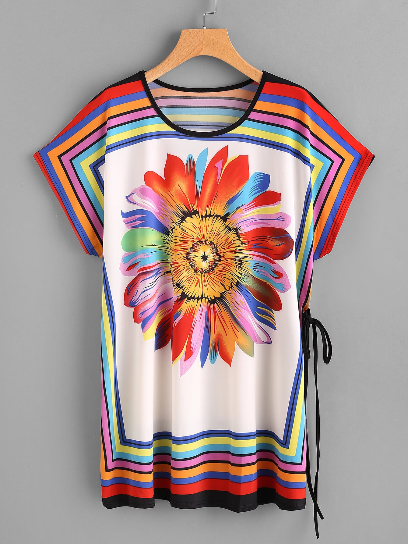 Rainbow Sunflower Print Dolman Sleeve Tie Detail Tee Dress