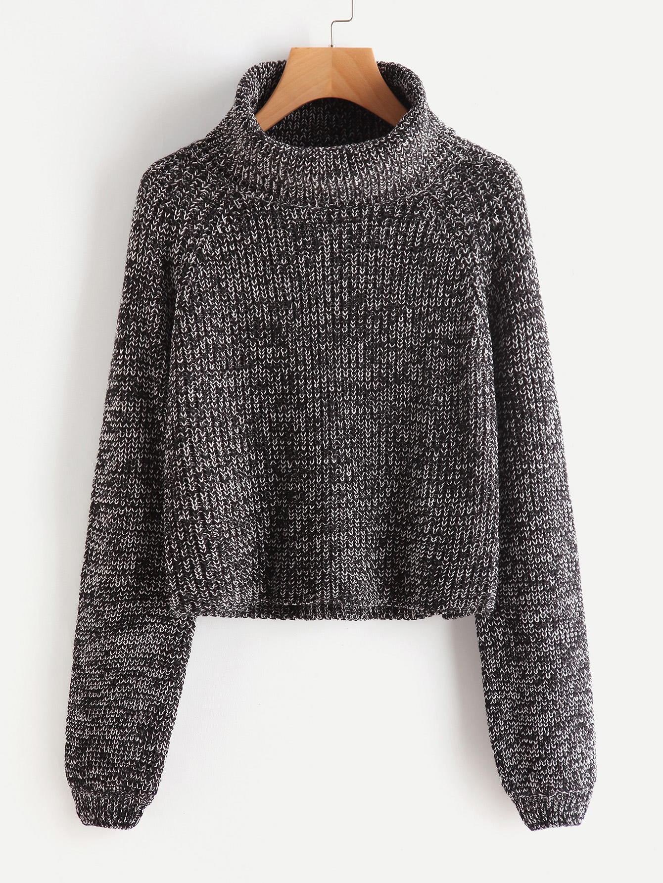 Roll Neck Raglan Sleeve Marled Knit Jumper raglan sleeve binding marled crop top