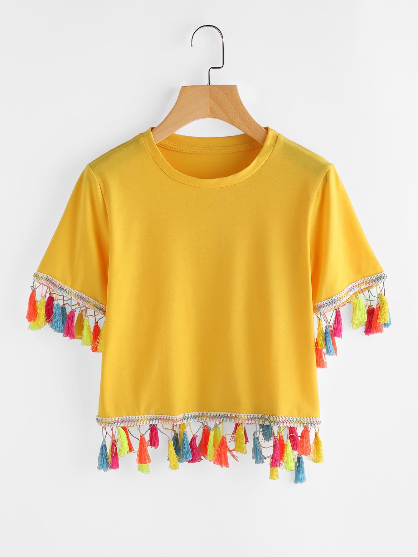 Фото Contrast Tassel Trim Tshirt. Купить с доставкой