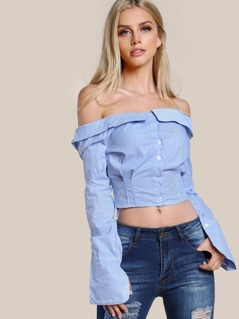 Off Shoulder Long Sleeve Button Up Top BLUE