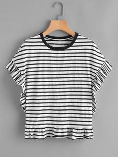 Frill Trim Striped Dolman T-shirt