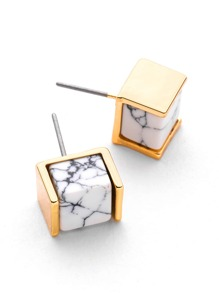 Metal Wrap Marble Design Stud Earrings