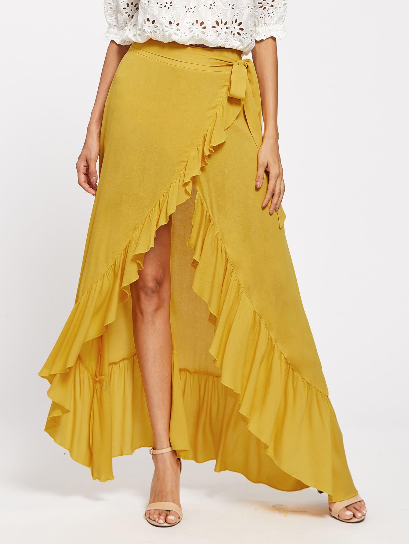 Фото Flounce Trim Belted Overlap Skirt. Купить с доставкой