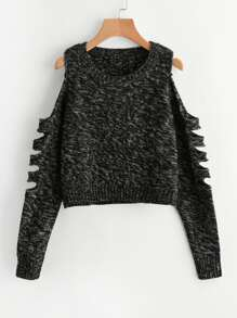 Ladder Cutout Sleeve Marled Knit Jumper