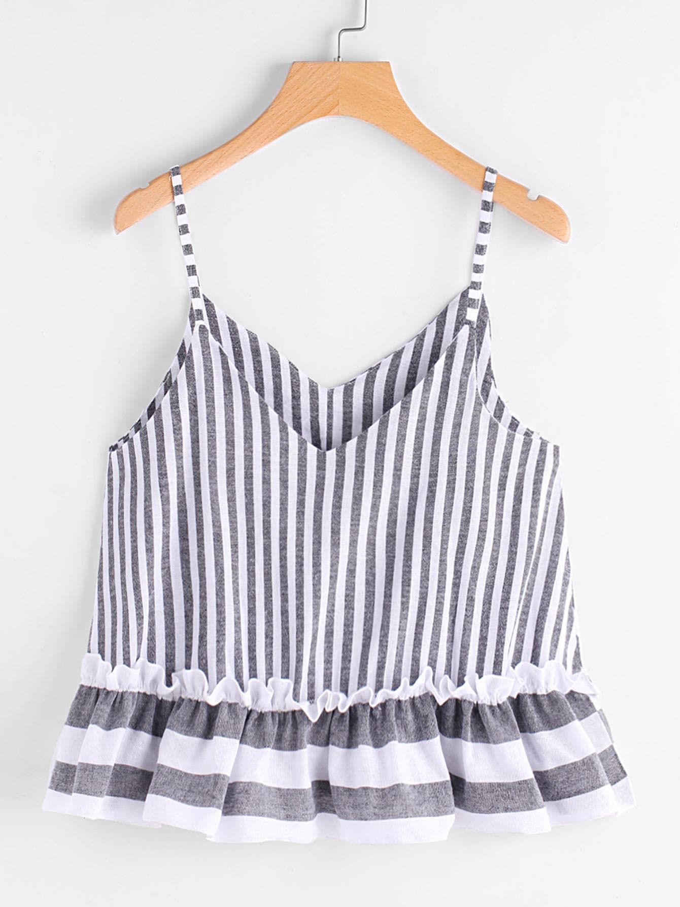 Contrast Striped Frill Hem Cami Top