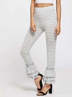 Layered Ruffle Hem Striped Pants