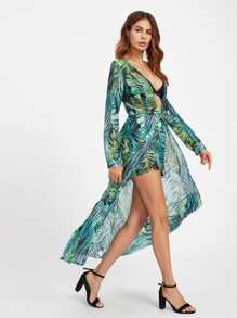 Plunging Tropical Print Overlay Romper