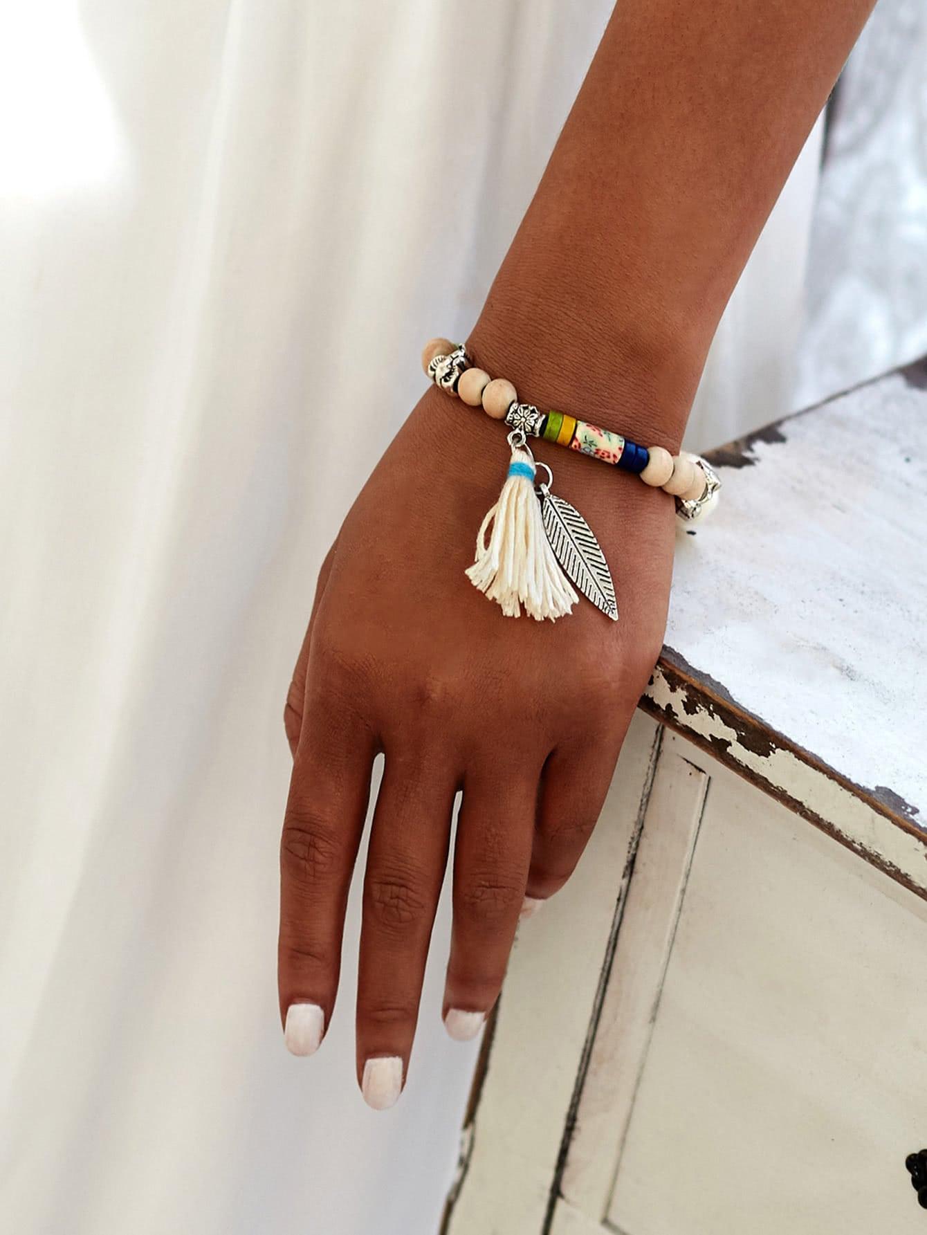 Фото Leaf & Tassel Design Beaded Charm Bracelet. Купить с доставкой