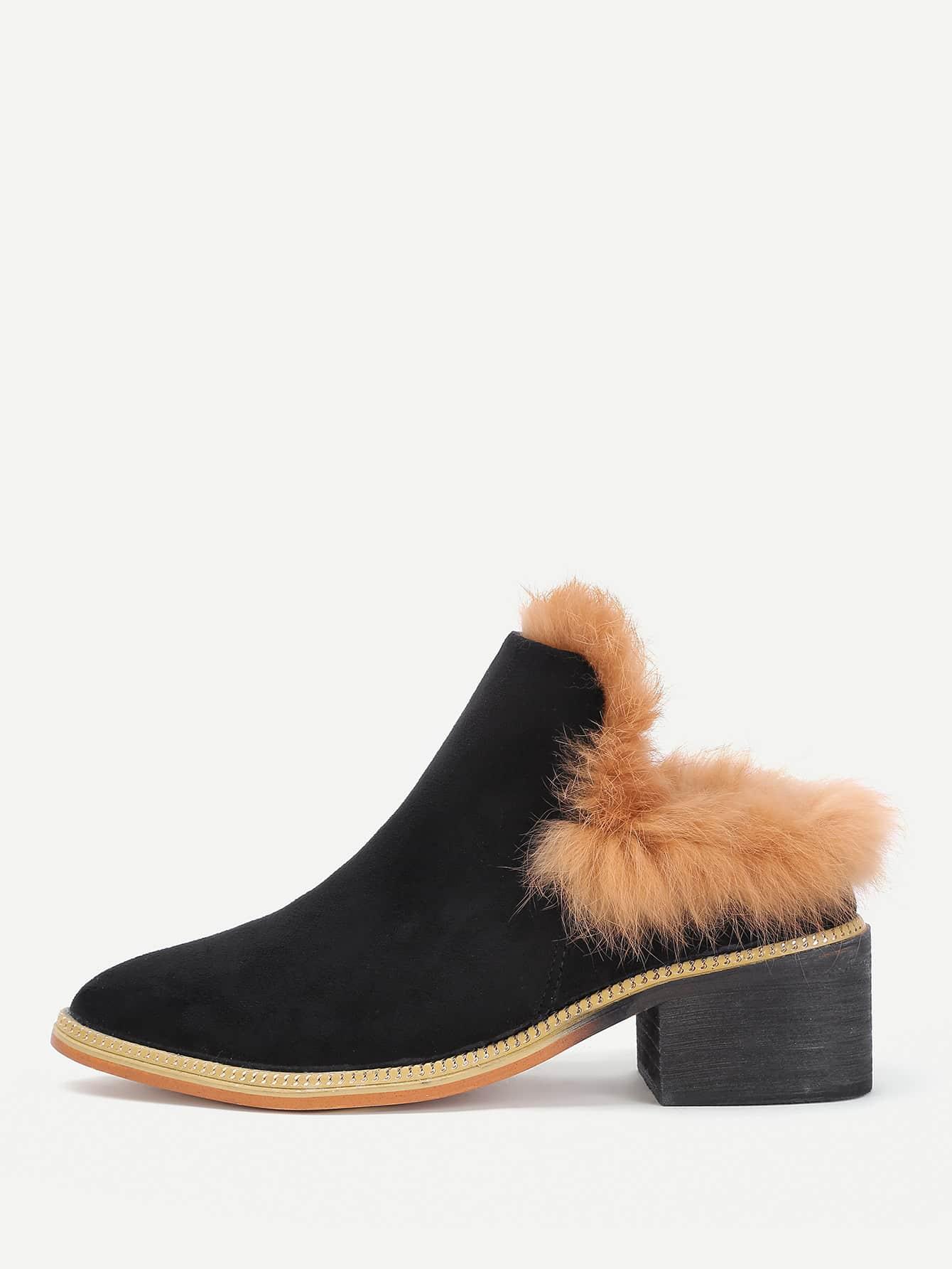 Faux Fur Design Block Heeled Boots