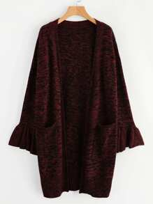 Ruffle Cuff Pocket Front Space Dye Sweater Coat